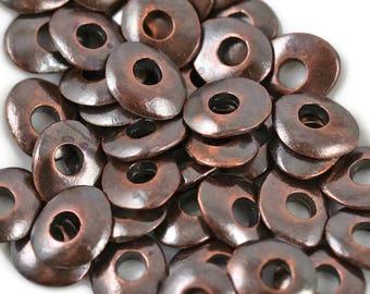 12 Mykonos Cornflake - 10mm Bronze - Wavy Washer Round Disk