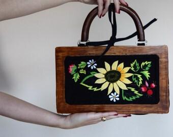 salvation armani vintage handmade purse - wooden frame purse - hand embroidered sunflower purse - summer purse - flower child - hippie