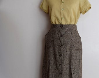 salvation armani vintage tweed skirt - button up skirt - wool blend skirt - brown wool skirt - vintage size 12