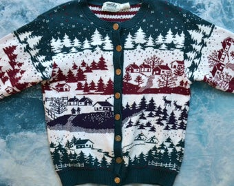Vintage 90s Snowy Cabin Wintery Pine Trees Dad Cardigan Button-Up Sweater