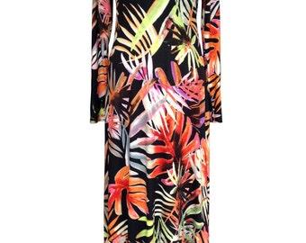 Floral Cotton Maxi Dress, Plus Size Dress, Black Maxi Dress, Long Sleeves Dress, Flair Dress, Boho Maxi Dress, Leafs, Designers Dress