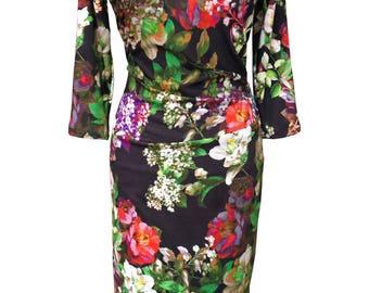 SALE - Floral Jersey Dress, Plus Size Dress, Winter Dress, Dress with Sleeves, Jersey Dress, Long Sleeves, Warm Dress, Designer Dress