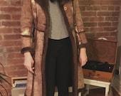 70s Shearling Brown Sheepskin Coat Boho Hippy Long Lambskin Size S or XS