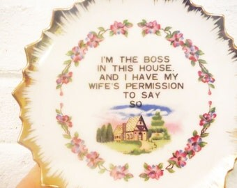 Boss wall art plate husband wife marriage humor kitchen decor vintage cottage house warming gift kitsch mid century plaque