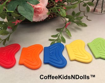 Wavy Silicone Teether  // 2x1.5 inch // Sew In Teether // Silicone Teether // Teething Toy // Toy Making // Baby Teething // Handmade
