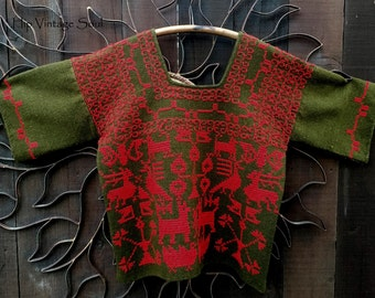 Vintage 1970's Mexican Hand Embroidered Wool Sweater, Mexican Folk Art Clothing, Rare Vintage Mexican Clothing, Ethnic, Bohemian