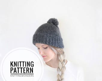 Knitting Pattern | Womens Beanie Hat With Pom / Fall Fasion Toque Tam Beginner Knit Pattern Project PDF