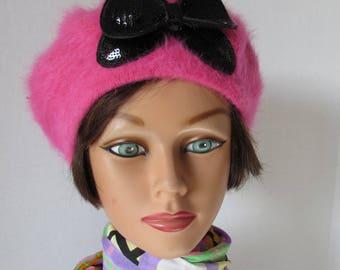 Betseyville hot pink Angora sequin bow   Hat Pink Beret'/Tam  BETSEYVILLE Black Bow Angora