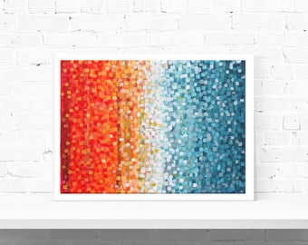 Orange & Blue Large Art Print - Large Print, Large Wall Art, Abstract Impressionist Art Print In Orange And Teal By Artist Louise Mead