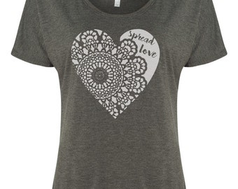 Spread Love, Womens Shirt, Modern Womens Apparel, Flowy Shirt, Screenprinted Tee