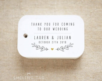 Thank you for coming to our wedding Personalized Gift Tags Wedding Favor Tags Thank you tags - Set of 24 (Item code: J651)