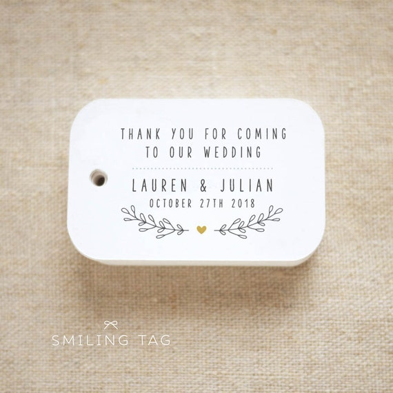 Thank You For Coming To Our Wedding Personalized Gift Tags