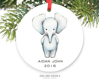 Baby Elephant Ornament Baby's First Christmas Ornament New Baby Ornament Boy Baby Christmas Ornament Personalized Baby Ornament Newborn Baby