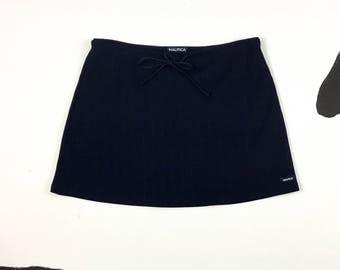 90s Navy Blue Nautica Mini Skirt / Ribbed / Logo / Minimal / Sporty / Athletic / Cyber / Vaporwave / Preppy / Drawstring / Hip Hop /