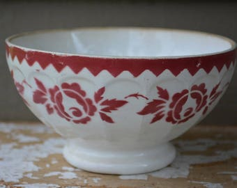 Antique French Cafe au Lait Bowl, Vintage Farmhouse French Cafe Bowl, French Country Decor, Vintage Photo Prop,