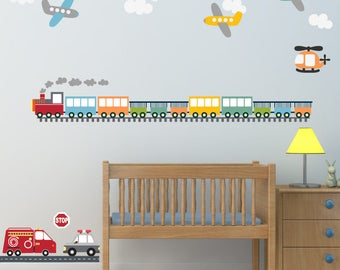 Train Airplane Wall Decal Stickers, REUSABLE Fabric DECAL Ecofriendly No Toxins No PVCs Decals, WD47a
