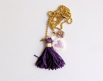 Charm necklace embroidered lavender heart, buddha charm and purple tassel on long gold tone ball chain stocking stuffer Valentines day gift