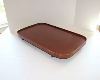 Antique Footed Wooden Tray Large Primitive Rustic Farmhouse Decor