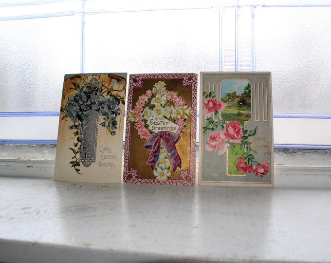 Antique Postcard Easter Flowers