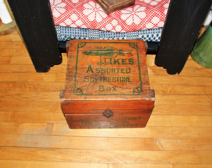 Antique Pike's Whetstones Box Scythestones General Store Display