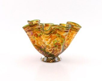 Hand Blown Art Glass Bowl in Gold Amber