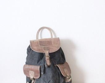 canvas / denim + leather rucksack