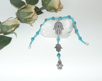 Hamsa/Fatima/Hand of God with turquoise crystals - Rear view mirror hanging, car charm