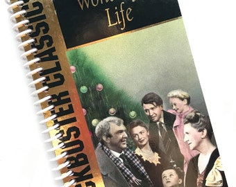IT'S a WONDERFUL LIFE Christmas Notebook Journal upcycled spiral notebook Recyled Earth Friendly Made from an actual Vhs movie cover