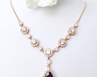 Bridal Necklace ROSE GOLD Dark Red Garnet Peardrop and Round Cubic Zirconia Pink Gold Wedding Necklace