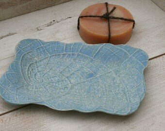 shell soap dish, nautilus, blue soap tray, bathroom accessories, minimal matte, beach house decor, organic pottery, fibonacci, Mother's Day