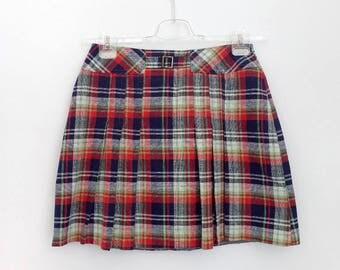 1970s Mini Skirt - Tartan Wool Miniskirt - Tartan Plaid Print - 70s Pleats - Clueless Skirt - Navy Blue Green Red White Medium