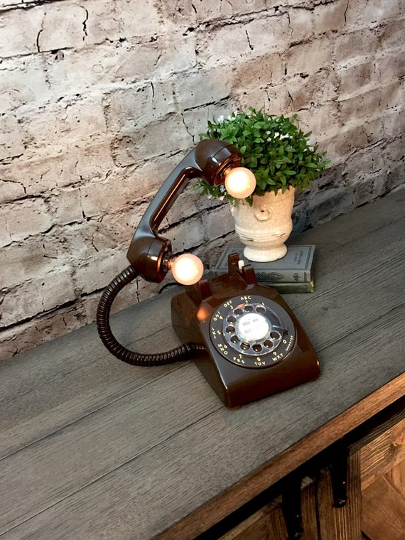 Table Lamp Upcycled Vintage BROWN Rotary Telephone