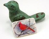 StudioStJames Rustic Cardinal Cabochon Pendant-Handcrafted Polymer Clay Focal 24x36mm -White Red-Jewelry Supplies-PA 10078-10079