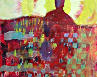 """Abstract Figure Painting, Small Original Under 100, Affordable """"The Sun Will Shine Again"""" 8x10"""""""
