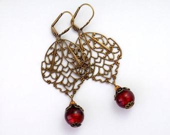 Red Murano Earrings, Nickel Free Filigree Jewelry, Antiqued Brass Filigree Earrings, Red Drop Earrings, Red Venetian Glass Jewelry, Edina