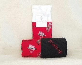 Ohio State Baby Blanket Name Minky Buckeyes Football Basketball PERSONALIZED Baby Boy and Girl Baby Shower Gift
