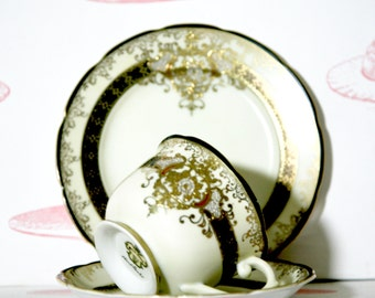 Black and Gold Art Deco Teacup, Saucer And Cake Plate Trio