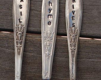 HERB MARKERS. Hand Stamped Herb Names. Herb Sticks. Herb Labels. * Basil * Thyme * Chives. Set of Three (3). Gift for Hostess Chef Cook