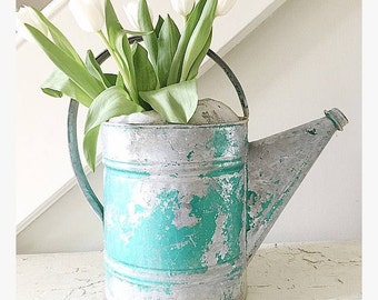 Vintage Watering Can Metal Large Green Shabby Cottage
