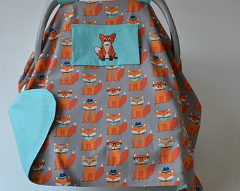 Baby Boy Car Seat Canopy READY TO SHIP Blue Gray Orange Fox Baby Shower Newborn Car Seat Cover Infant Car Seat Cover Baby Gift Baby Boy