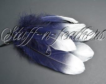 Silver Dipped feathers - Navy Blue GOOSE feathers with Silver Tips loose for millinery, crafts, wedding, 5-8 in (12.5-20cm), 6 pcs / F194-6S