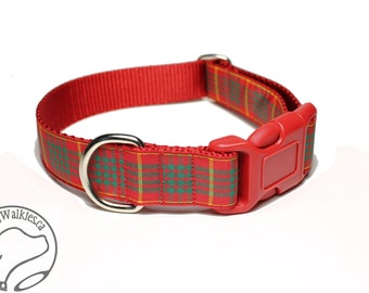 """Red Cameron Clan Tartan Dog Collar - 1"""" (25mm) Wide - Green and Red Plaid - Matingale or Side Release Buckle - Choice of size & style"""