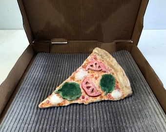 Marg -- Handmade lifelike pizza ceramic sculpture -- Margherita