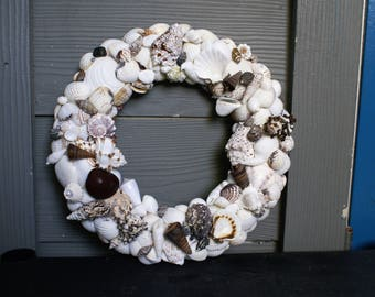 Shell wreath - 13 inch wreath - seashell wreath - beach wreath- coastal wreath - Christmas wreath