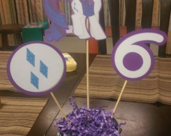 Rarity Centerpiece, My Little Pony Centerpiece with Number for Birthday Parties