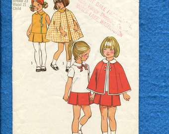 1970's Simplicity 5480 Trendy Little Girl's  Drop Waist Dress & Cape Pattern Size 4