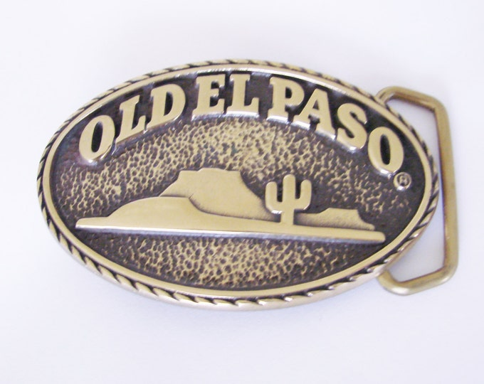 Vintage Solid Brass Old El Paso Belt Buckle / Blue Bayou Brass / Houston Texas / Mens Accessories