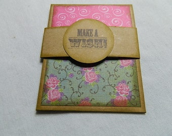 Gift card holder in Kraft card stock with pink Make a Wish