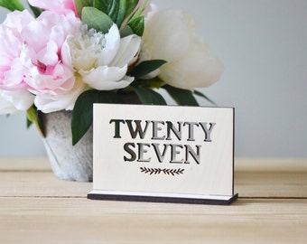 Wooden table numbers - freestanding table numbers- wedding decor