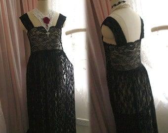 Bohemian Goth Gothic Black Lace Sheer Beach Coverup Wedding Dress Maxi Dress Long Sleeves Women's Dark Hippie Slip Gypsy Shabby